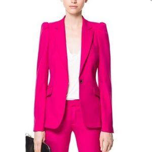 Zara Tufted Shoulder Fuchsia Pink Fitted Blazer